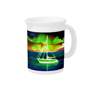 Neon Sailboat Dusk Thirty Ocean Sailing Gifts Pitcher