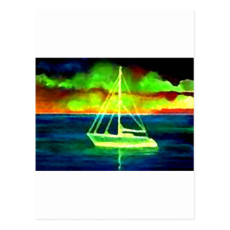 Neon Sailboat Dusk Thirty Ocean Sailing Gifts Postcard