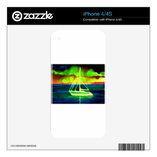 Neon Sailboat Dusk Thirty Ocean Sailing Gifts Skins For The iPhone 4S