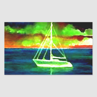 Neon Sailboat Dusk Thirty Ocean Sailing Gifts Rectangle Sticker
