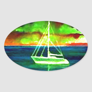 Neon Sailboat Dusk Thirty Ocean Sailing Gifts Sticker