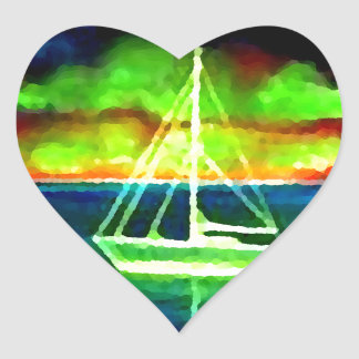 Neon Sailboat Dusk Thirty Ocean Sailing Gifts Heart Stickers
