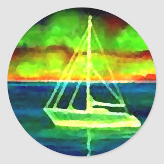 Neon Sailboat Dusk Thirty Ocean Sailing Gifts Round Stickers