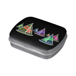 Neon Sailboats Jelly Belly Candy Tin