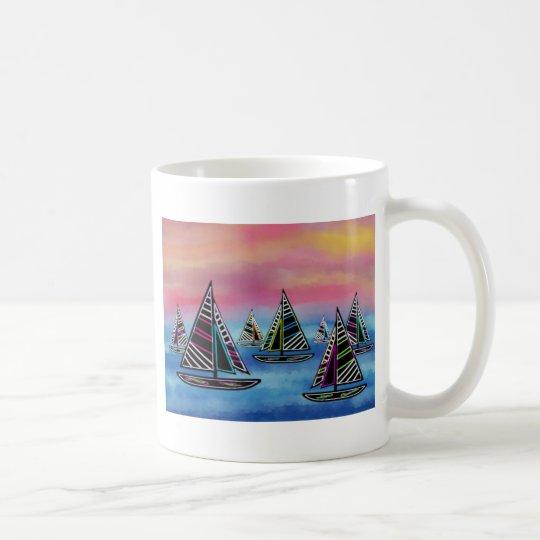 Neon Sails in the Sun Coffee Mug