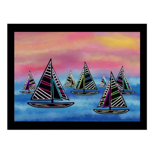 Neon Sails in the Sun Postcard