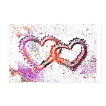 Valentines Themed Neon Sand Hearts Rectangular Sticker