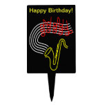 Neon Saxophone Music Notes Happy Birthday Cake Toppers