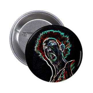 Neon Scream Face badge / button
