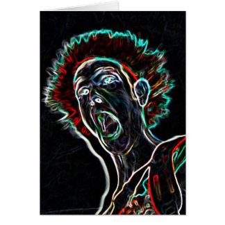 Neon Scream Face blank notelet / card