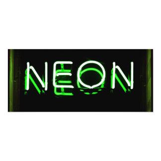 NEÓN - señal de neón verde Invitación 10,1 X 23,5 Cm