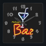 """Neon Sign Home Bar Personalized Square Wall Clock<br><div class=""""desc"""">See the rest of the zany Mancave stuff here... </div>"""