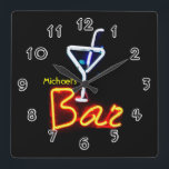 "Neon Sign Home Bar Personalized Square Wall Clock<br><div class=""desc"">See the rest of the zany Mancave stuff here... </div>"