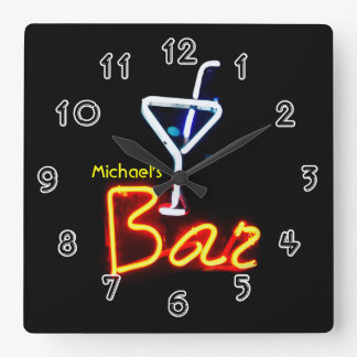 Neon Sign Home Bar Personalized Square Wall Clock