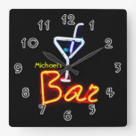 Neon Sign Home Bar Personalized Square Wallclocks