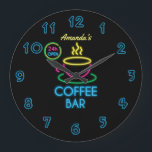 """Neon Sign Personalized Coffee Bar Large Clock<br><div class=""""desc"""">Customizable to your specifics. Please note that this is not a real neon sign that lights up.</div>"""