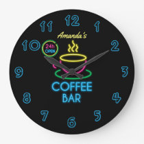 Neon Sign Personalized Coffee Bar Large Clock