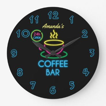 Coffee Themed Neon Sign Personalized Coffee Bar Large Clock