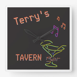 Neon Sign Personalized Mancave Tavern Club Square Wall Clock