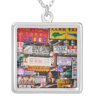 Neon signs in the streets of Hong Kong Square Pendant Necklace
