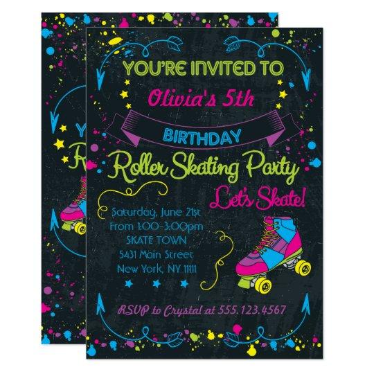 Neon Skate Party Invitations Zazzlecom