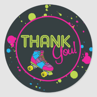Neon Skate Party Thank You Stickers