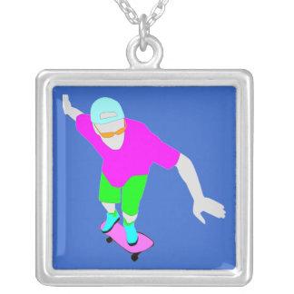 neon skateboard fashion necklace