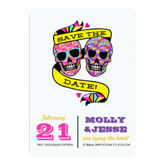 Neon Skeletons Save the Date Card