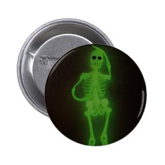 Neon Skelton Pinback Button