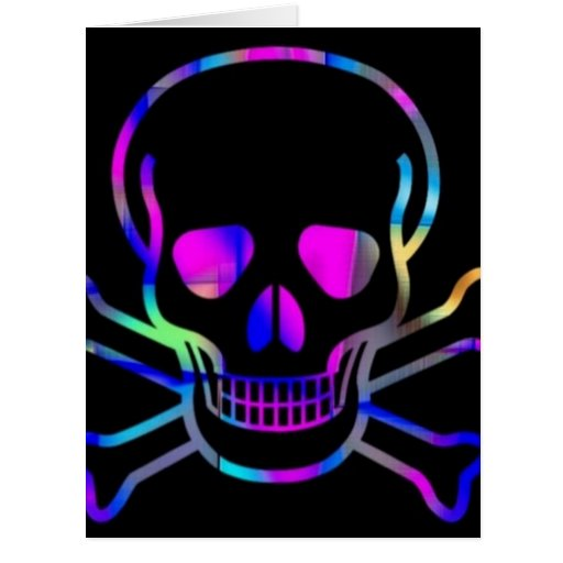 Neon Skull Greeting Cards