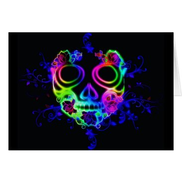 Halloween Themed Neon skull face greeting card