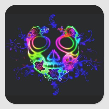 Halloween Themed neon skull face stickers