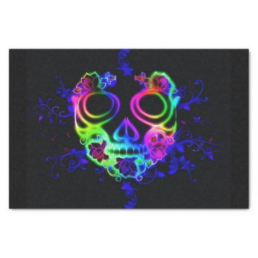 Halloween Themed neon skull face tissue paper