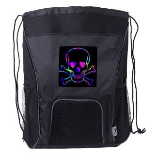 Neon Skull Drawstring Backpack