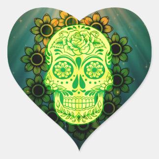 Neon Skull Heart Sticker