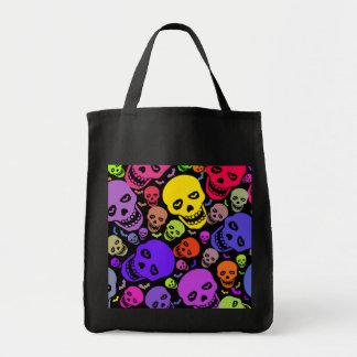 Neon Skulls Grocery Tote Tote Bag