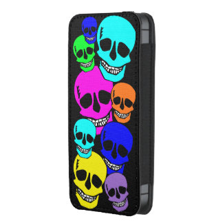 Neon skulls pattern iphone pouch