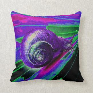 neon snail throw pillow