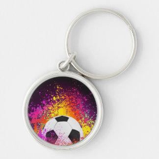 Neon Soccer Ball Keychain