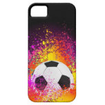 Neon Soccer Ball with Black Background iPhone 5 Covers