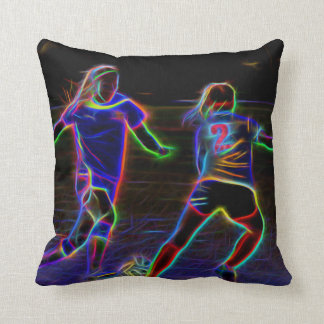 Neon Soccer Graphic Throw Pillow