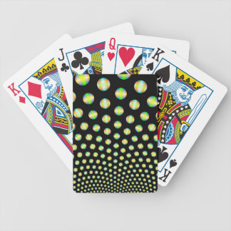Neon Spheres on Black Playing Cards