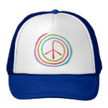 Neon Spiral Peace Symbol II Trucker Hats
