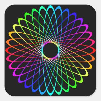 Neon Spiro Abstract Square Sticker