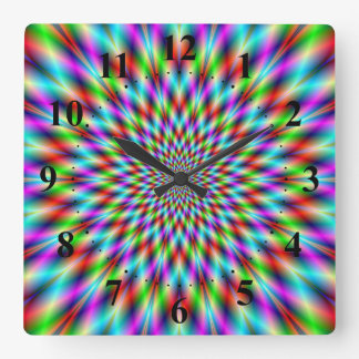 Neon Star Exploding Square Wall Clock