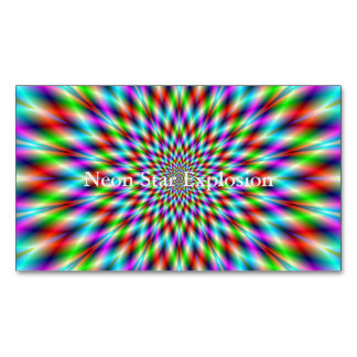 Neon Star Explosion Magnetic Business Card
