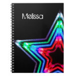 Neon Star Light Personalized Notebook