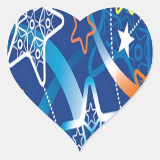 Neon Stars design Heart Sticker