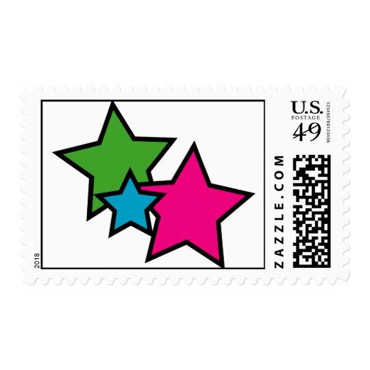 Neon stars postage stamp