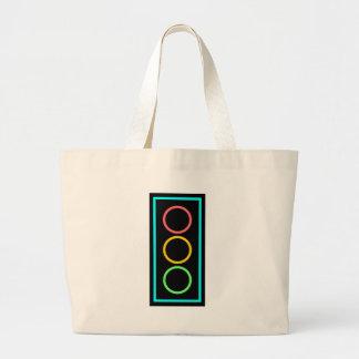 Neon Stoplight Large Tote Bag